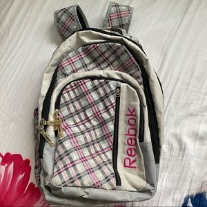 REEBOX 8 POCKET CHECKERED GREY/PINK BACKPACK